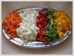 Finely chopped vegetables