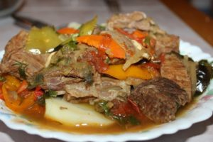 Dish with meat and vegetables