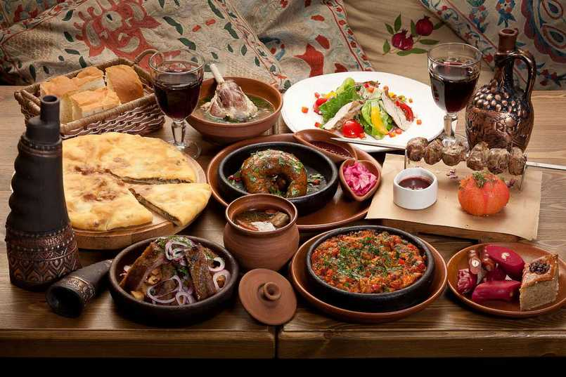 Table with Armenian dishes