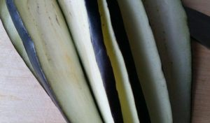 Eggplant cut into plates